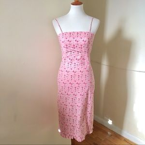 Vintage 90s Slip Dress Pink Floral XS